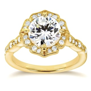Annello 14k Yellow Gold Round-cut Moissanite and 1/4ct TDW Diamond Floral Engagement Ring (G-H, I1-I2)