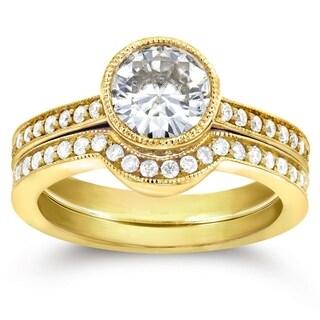 Annello 14k Yellow Gold Moissanite and 1/2ct TDW Diamond Bezel Bridal Rings Set (G-H, I1-I2)