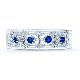Estie G 14k White Gold Blue Sapphire and 1/3ct TDW Diamond Band (H-I, I1-I2) (Size 7)