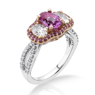 18k Two-tone Gold 1ct TDW Pink Sapphire and White Diamond Bridal Ring (G-H, SI)