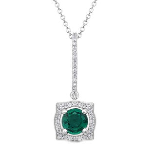 18k White Gold 1/5ct TDW Emerald and White Diamond Pendant (G-H, SI)