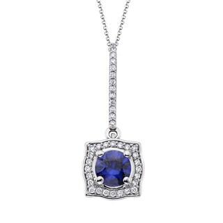 18k White Gold 1/5ct TDW Sapphire and White Diamond Pendant (G-H, SI)
