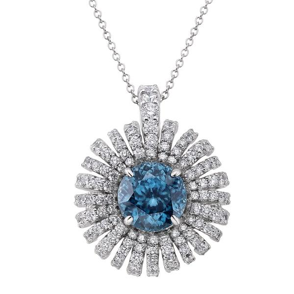 18k White Gold 3 1/10ct TDW Zircon-Blue and White Diamond Pendant (G-H, SI)