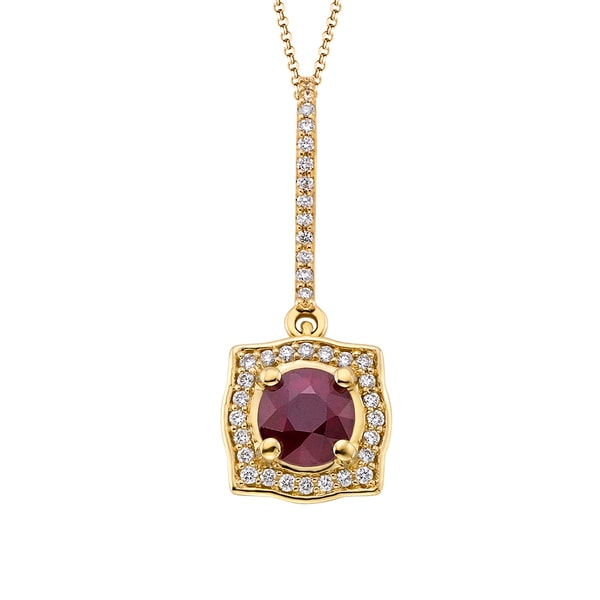 18k Yellow Gold 1/5ct TDW Ruby and White Diamond Pendant (G-H, SI)