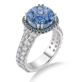 18k White Gold 1 3/4ct TDW Aquamarine, Blue and White Diamond Bridal Ring (G-H, SI)