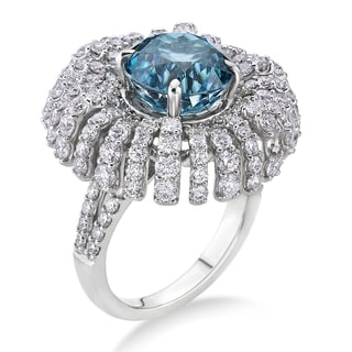 18k White Gold 3ct TDW Zircon-Blue and White Diamond Bridal Ring (G-H, SI)