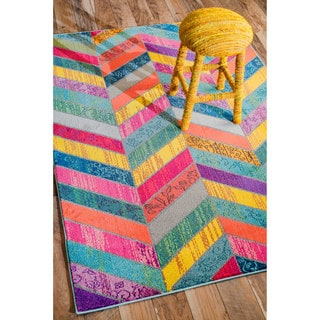 nuLOOM Modern Abstract Patchwork Chevron Multi Rug (9' x 12')