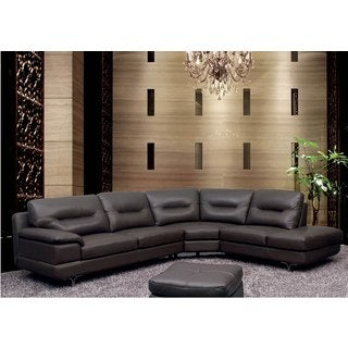 Luca Home DK Grey Leather Sectional