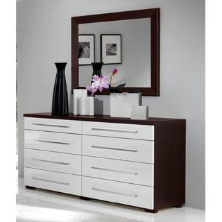 Luca Home Wenge/White Double Dresser with Mirror