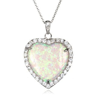 Sterling Silver Created White Opal and Cubic Zirconia Heart Necklace