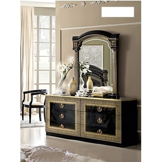 Luca Home Black/ Gold Dresser and Mirror