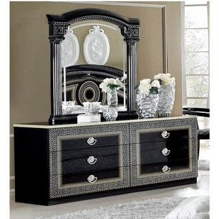 Luca Home Black/ Silver Dresser and Mirror