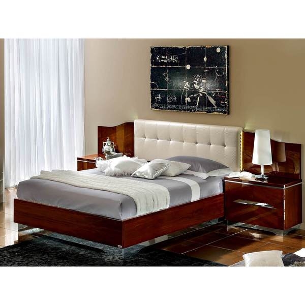 Luca Home DK Walnut/White Bed