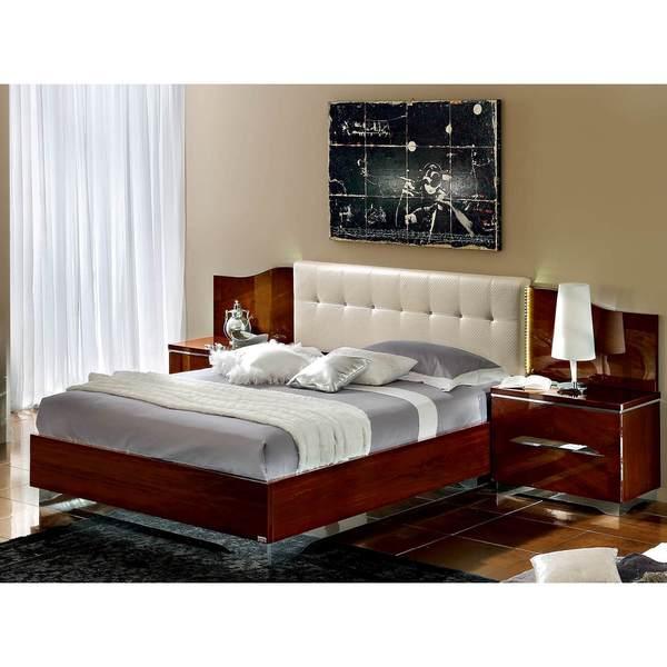 Luca Home DK Walnut/White Bed