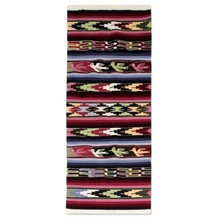 Handcrafted Wool 'Doves Bring Peace' Runner 2x4 (Peru)