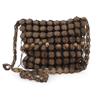 Handcrafted Coconut Shell 'Large Bouquets' Shoulder Bag (Thailand)