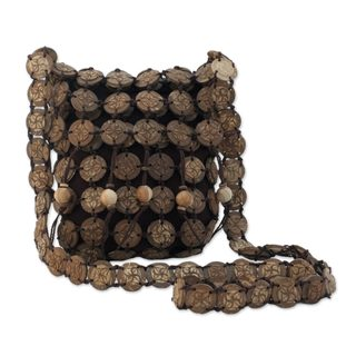 Handcrafted Coconut Shell 'Bouquets' Shoulder Bag (Thailand)