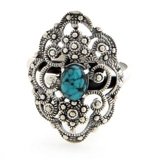 Sterling Silver 'Bali Magnificence' Turquoise Ring (Indonesia)