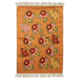 Handcrafted Cotton 'Sunset Garden' Rug 2x3 (India)