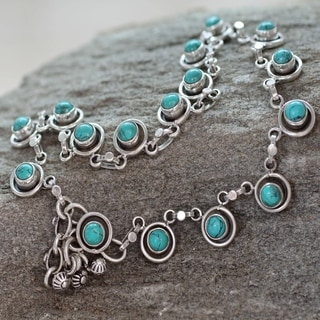 Handcrafted Sterling Silver 'India Trends' Turquoise Anklet (India)