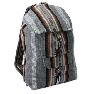 Handcrafted Alpaca Blend 'Winter Skies' Backpack (Peru)