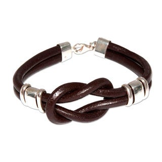 Handcrafted Sterling Silver Leather 'Twin Brown Knots' Bracelet (Peru)