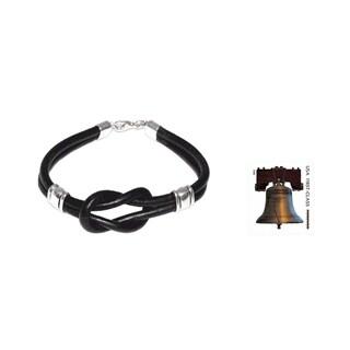 Twin Black Knots Style Artisan Designer Handmade Fashion Men's Jewelry Handsome Sterling Silver Black Leather Bracelet (Peru)