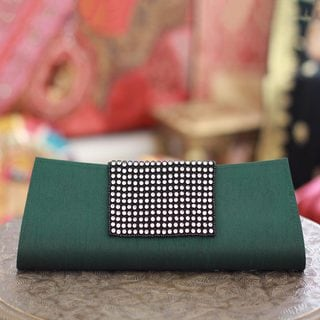 Beaded 'Emerald Allure' Clutch Handbag (India)