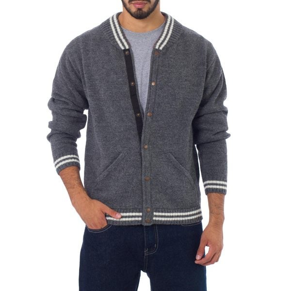 Men's Alpaca Wool Cotton 'Varsity Grey' Jacket (Peru)