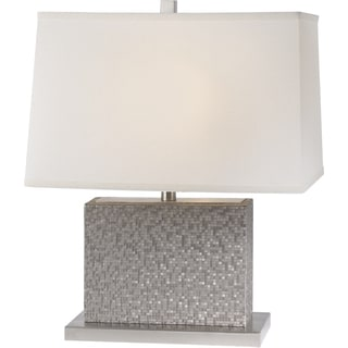 Merge 22-inch Pewter Mosaic Chamtex Table Lamp