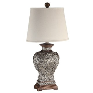 Antique Silver Carved Flower Fabric White Shade 34-inch Table Lamp
