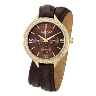 SO&CO New York Women's Madison Quartz Swarovski Crystal Leather Strap Watch