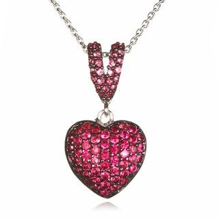 Two-tone Sterling Silver Created Ruby Heart Pendant
