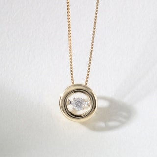 De Couer 10k Gold 1/10ct TDW Diamond Heart Beat Necklace (H-I, I2)
