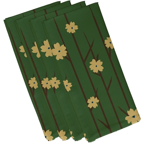 Green Floral Trees Print 10-inch Table Top Napkin