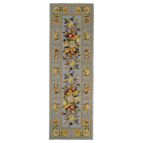 Hand-hooked Light Blue Orchid Runner Rug