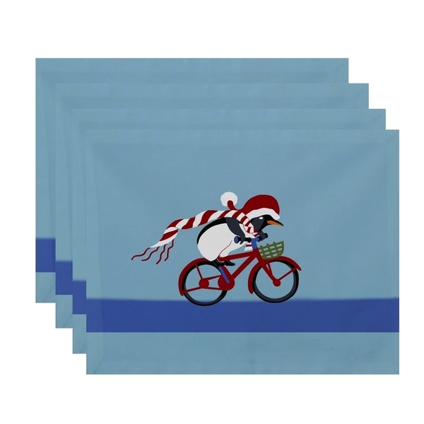 Blue Bike Riding Penquin Print Decorative Holiday Table Top Placement
