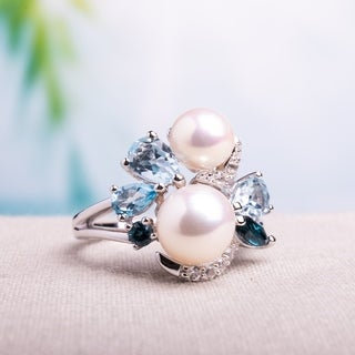 Miadora Sterling Silver Cultured Freshwater White Pearl, Topaz and Created White Sapphire Cocktail Ring (6.5-8 mm)