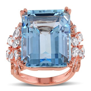 Miadora 14k Rose Gold Blue Topaz and 1 3/4ct TDW Diamond Cocktail Ring (G-H, SI1-SI2)
