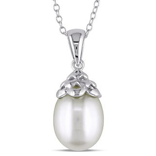 Miadora Sterling Silver Cultured Freshwater White Pearl Drop Necklace (9-9.5 mm)