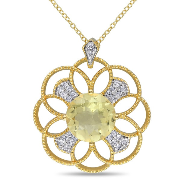Miadora Yellow Plated Sterling Silver Lemon Quartz, White Topaz and Diamond Accent Flower Necklace