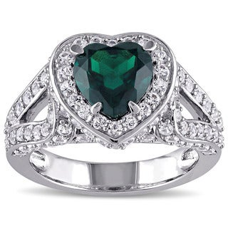 Miadora Sterling Silver Created Emerald and White Sapphire Heart Ring