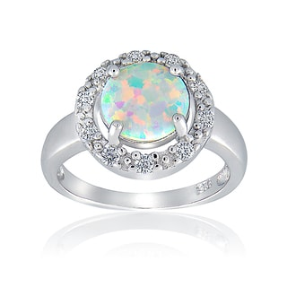 Glitzy Rocks Sterling Silver Synthetic Opal and Cubic Zirconia Round Ring