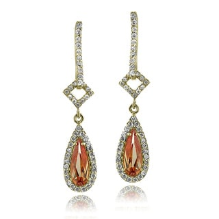 ICZ Stonez 18k Gold over Sterling Silver Champagne Cubic Zirconia Teardrop Dangle Earrings