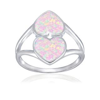 Glitzy Rocks Sterling Silver Synthetic Opal Double Heart Ring