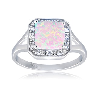 Glitzy Rocks Sterling Silver Synthetic Opal and Cubic Zirconia Square Ring