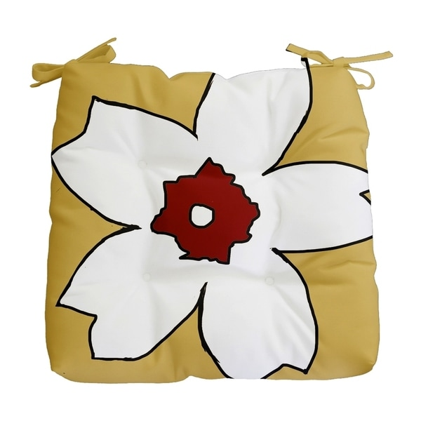 Yellow Large Floral Print Outdoor Seat Cushion
