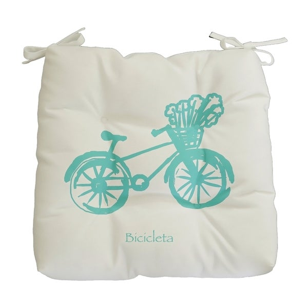 Green Novelty Bike Print Outdoor Seat Cushion