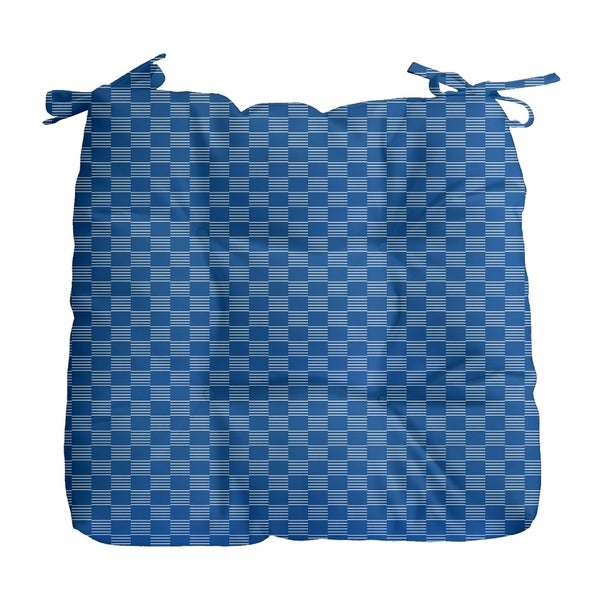 Geometric Small Check Print Outdoor Seat Cushion