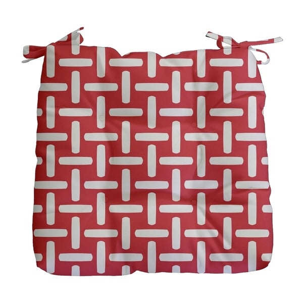 Geometric Basket Weave Print Outdoor Seat Cushion